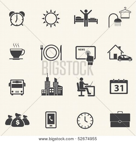 Routine of a business man icons. Vector