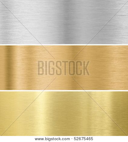 metal texture background : gold, silver, bronze collection