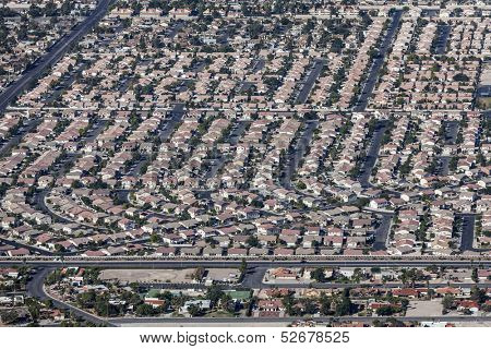 Sprawling housing developments in the sunny Las Vegas Valley.