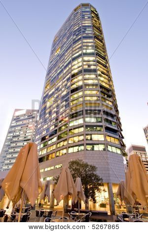 Modern Office Tower In Early Evening Light