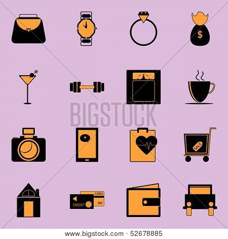 Adult Lifestyle Black And Orange Color Icons