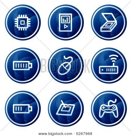 Electronics Web Icons Set 2, Blue Circle Buttons Series