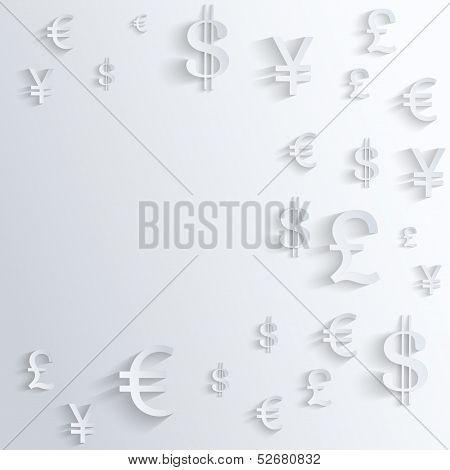 Business background with various money symbol