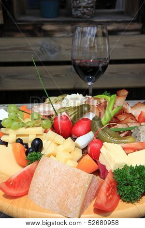 European Cold cuts and cheese platter (Jausen Platte, Brotzeit Platte)