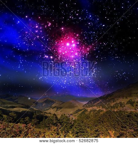 Beautiful mountain and galaxy