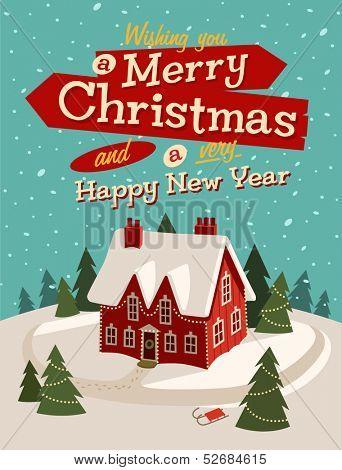 Family house. Merry Christmas illustration.
