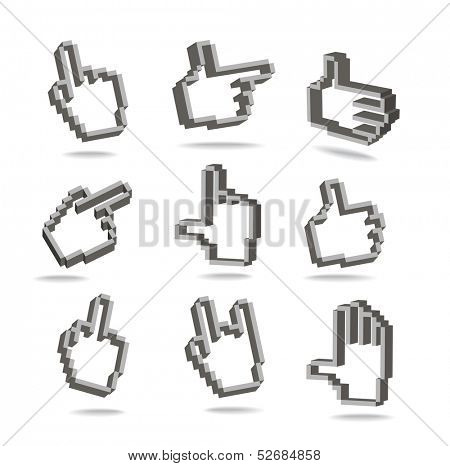 Pixel hand cursors collection in perspective isolated on white