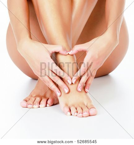 Woman loves her legs, white background