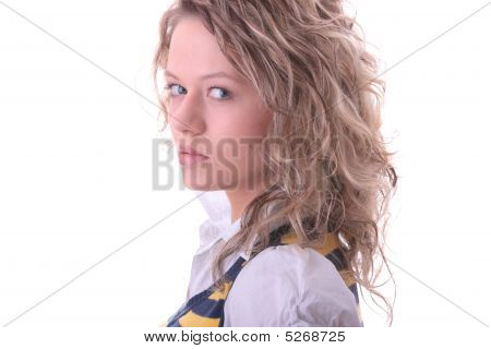 Young Blond Student Girl