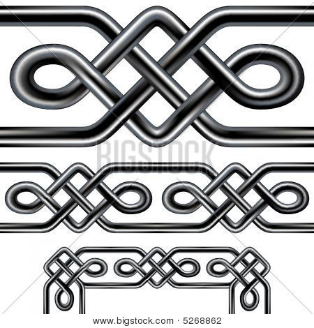 Celtic Rope Seamless Border Design With Corner Elements