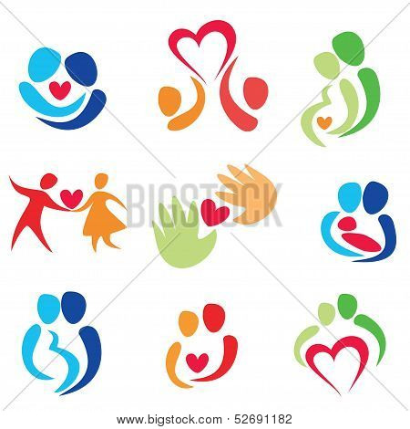 Love Set, Happy Couple Vector Icons