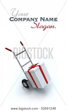3D rendering of a hand cart carrying a big white present with a red ribbon