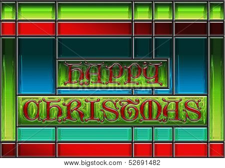 Happy Christmas Stained Glass Window Panel