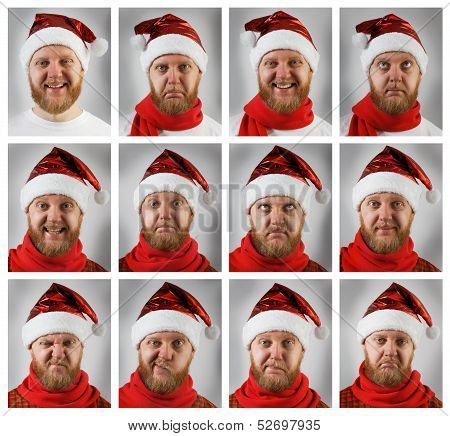 Santa Claus With Different Emotions