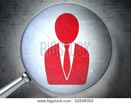 Business concept:  Business Man with optical glass on digital ba