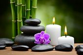 image of stone-therapy  - zen basalt stones and orchid on the wood - JPG
