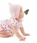 image of flying-insect  - Butterfly flying to Asian baby girl nose - JPG