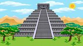 stock photo of hieroglyphic symbol  - Natural landscape with the ancient aztec pyramid - JPG
