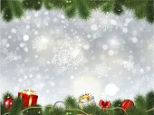 stock photo of fir  - Christmas background of gifts and decorations in fir tree branches - JPG