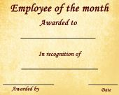 picture of employee month  - employee of the month certificate with some stains - JPG