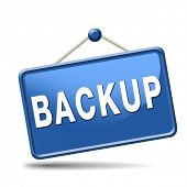 Backup data and software on copy in the cloud on a harddrive disk on a computer or server for flie security. Moving and transfering documents to external copies. poster