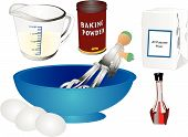 stock photo of flour sifter  - All the utensils to make a cake and most ingredients - JPG