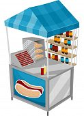 Illustration of a Food Cart Selling Hotdogs
