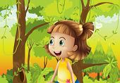 foto of hollow log  - Illustration of a happy girl near the trees - JPG