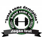 image of weight lifter  - Sign weights for fitness or gym logo - JPG