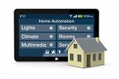 image of controller  - one house and tablet pc with a software for home automation  - JPG
