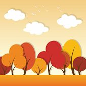 stock photo of applique  - vector autumn paper applique landscape with trees - JPG