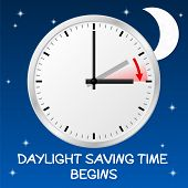 stock photo of daylight saving time  - vector illustration of a clock switch to summer time 