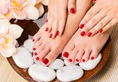 stock photo of nail salon  - Closeup photo of a beautiful female feet at spa salon on pedicure procedure - JPG