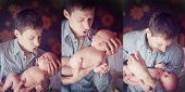 foto of triptych  - Triptych of photos father with son - JPG