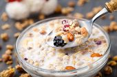 stock photo of dry fruit  - Healthy muesli breakfast with lots of dry fruits nuts and grains - JPG