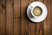 picture of bitters  - top view of black coffee in the cup on wooden table - JPG