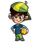pic of ball cap  - Naughty boy wearing a cap holding a soccer ball - JPG
