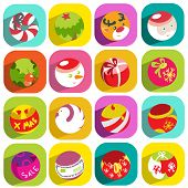 Colorful Flat Christmas Icons