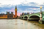 stock photo of westminster bridge  - Photo of Big Ben, Parliament and Westminster Bridge in London