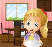 Illustration of a girl holding an empty plate in the dining area