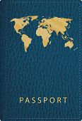 stock photo of passport cover  - vector blue leather passport cover - JPG