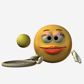 image of smiley face  - smiley girl tennis - JPG