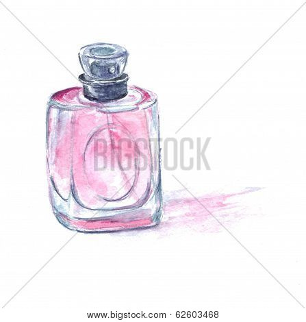 Pink perfume bottle with toilet water. Watercolor illustration.
