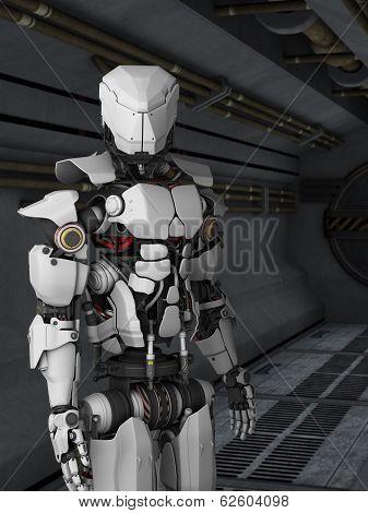 Futuristic Robot In Sci-Fi Corridor
