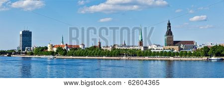 Panorama of Riga over Daugava river: Riga Castle, St. James's Cathedral, Riga Cathedral, St. Peter's Church