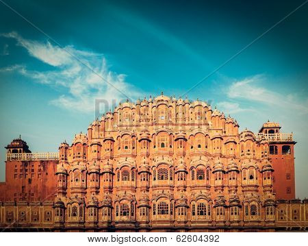Vintage retro hipster style travel image of Famous Rajasthan landmark - Hawa Mahal palace (Palace of the Winds), Jaipur, Rajasthan