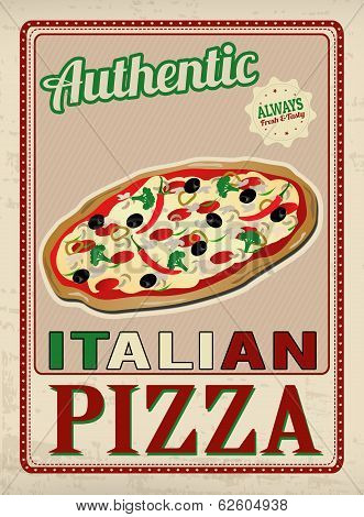 Authentic Italian Pizza Retro Poster