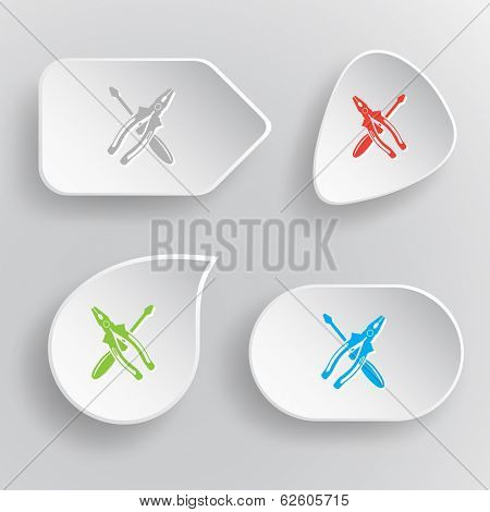 Screwdriver and combination pliers. White flat vector buttons on gray background.