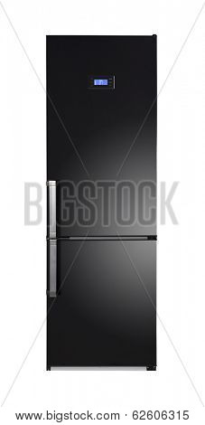 Two door shiny black refrigerator isolated on white