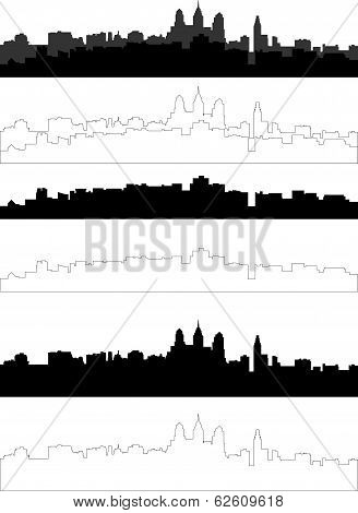 silhouette of city in black, gray and withe